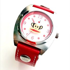 Paul Frank Red Leather Wrist Watch